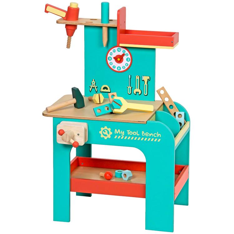 Detský pracovný stôl z dreva  - tyrkysový 4276-34